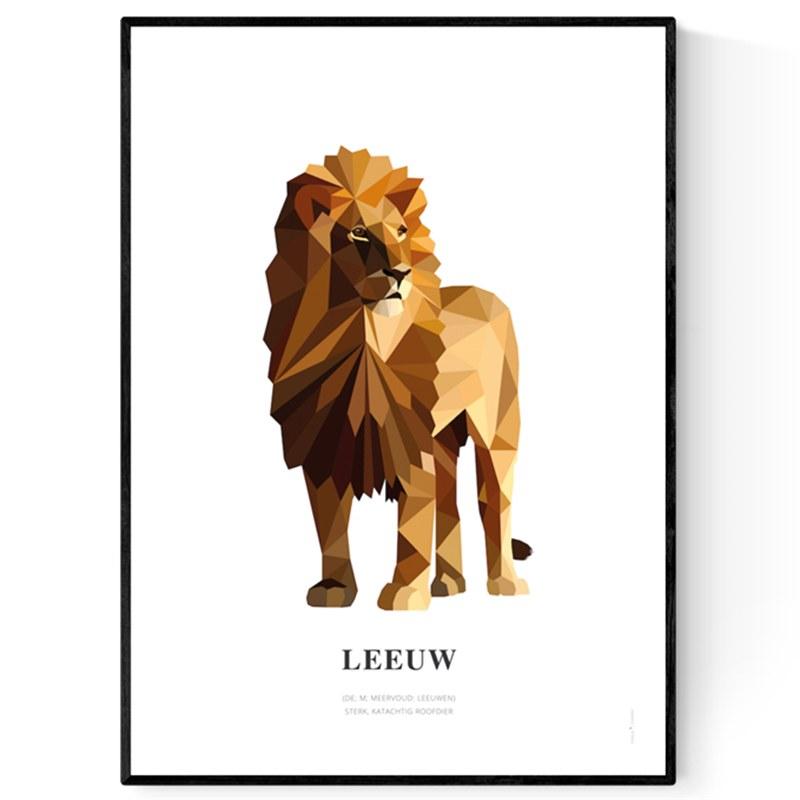 Poster geometrische dieren op extra duurzaam papier Paard
