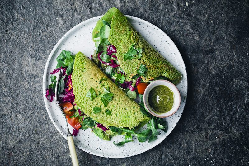 Green Vegan Chickpea Pancakes