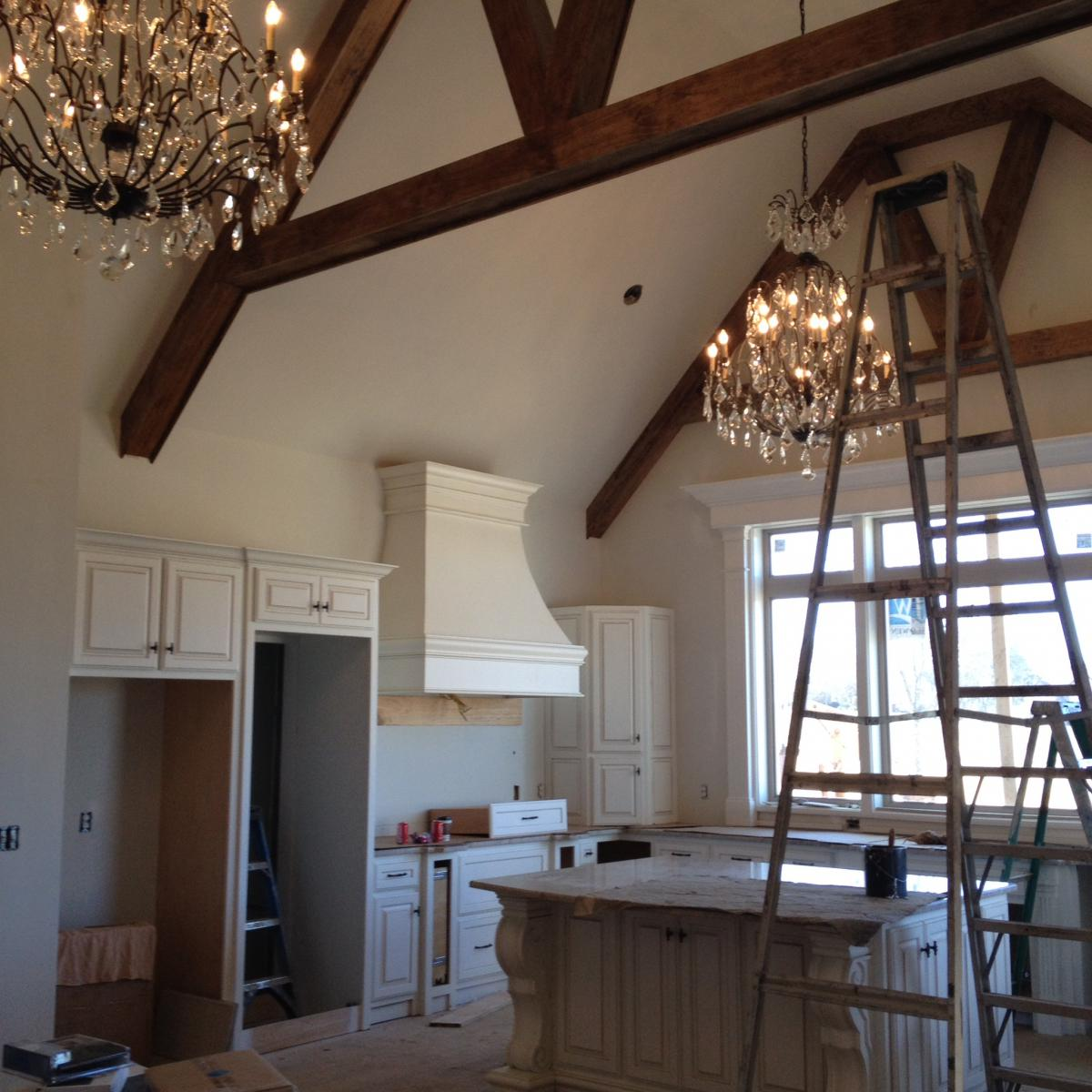 Cathedral ceilings in kitchen with wood beams