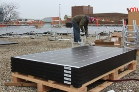 189 American-made solar panels were installed in December 2017