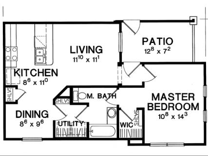 1 Bed / 1 Bath / 667 ft² / Deposit: $375 / Rent: $1,199