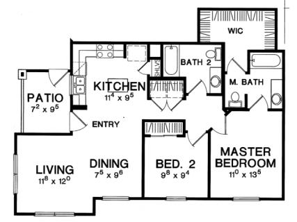 2 Bed / 2 Bath / 967 ft² / Deposit: $425 / Rent: $1,649