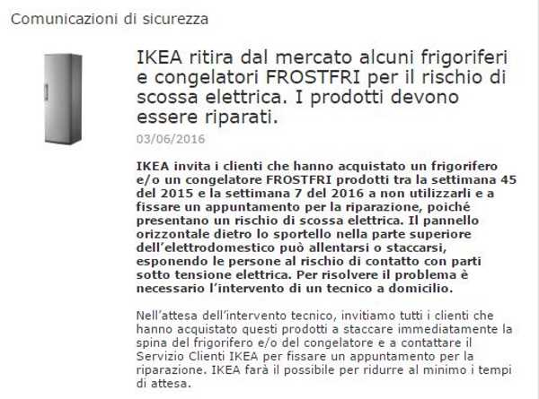 Allerta Ikea Ritira Frigorifero E Congelatore Frostfri Per