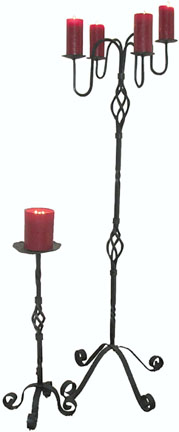 wrought iron floor candlestands