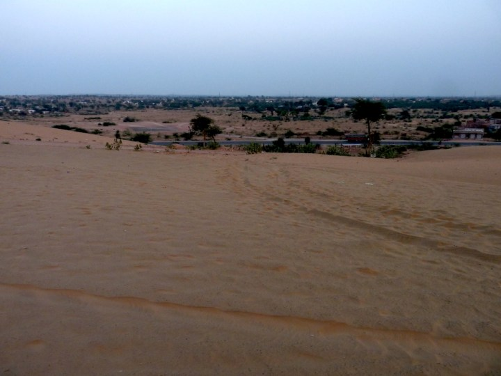 The incredible desert landscape from atop a dune at Dechu, en route to Jaisalmer from Jodhpur
