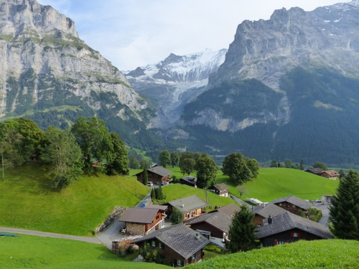 An alpine vista in Grindelwald, with the folded layers of Swiss Alps