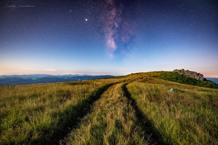The Appalachian Trail, the rocks where we stood shooting, and a fading Milky Way.