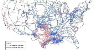 Map of Natural Gas Pipelines in the Continental US