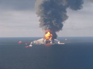 Deepwater Horizon Fires On the Surface, Oil Coming Up from the Bottom