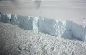 A 20 metre-high ice cliff forming the edge of the Wilkins Ice shelf on the Antarctic Peninsula is seen from a plane