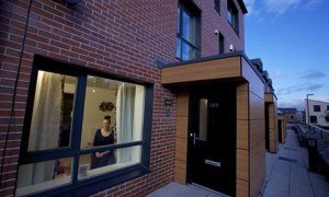 Justine Hutton and her children at their Passivhaus in Oldham