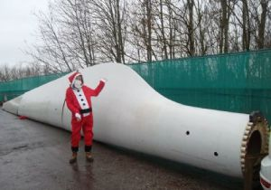 Santa and Wind Turbine Blade