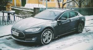 Tesla Model S in the Snow