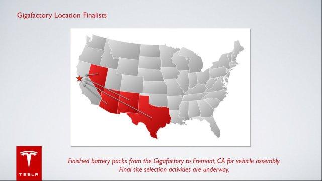 Tesla Gigafactory Possible Locations
