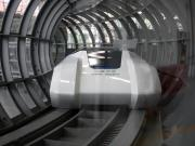 Maglev train prototype inside partially-evacuated tube could improve cross-country transportation efficiency.