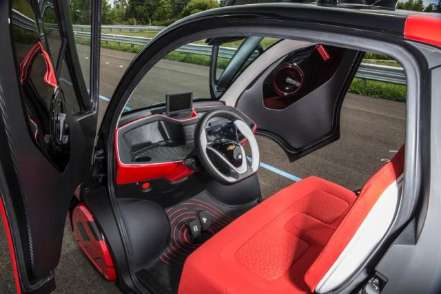 Inside the Chevrolet EN-V 2.0, a networked autonomous electric vehicle.