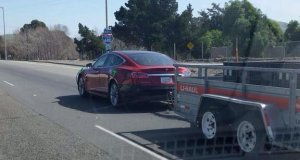 Tesla Model S Seen Towing and Testing in California