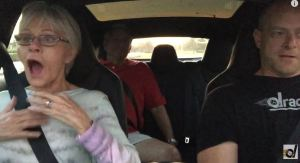"Passengers react to Tesla's ""insane mode""."