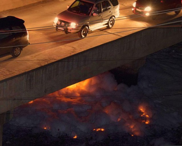 Polluted lake catches fire
