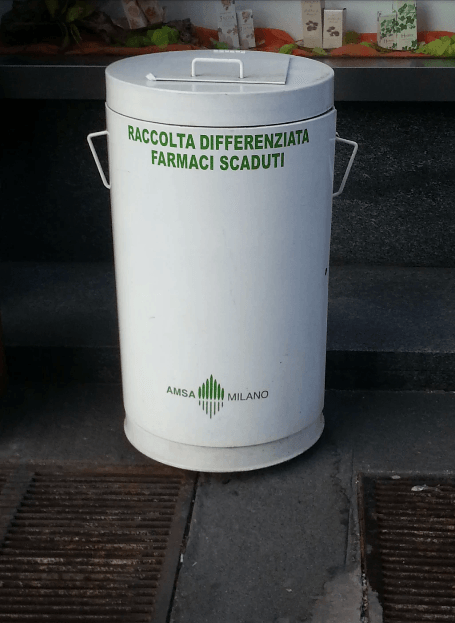 Used medicine collection bin, Milan, Italy