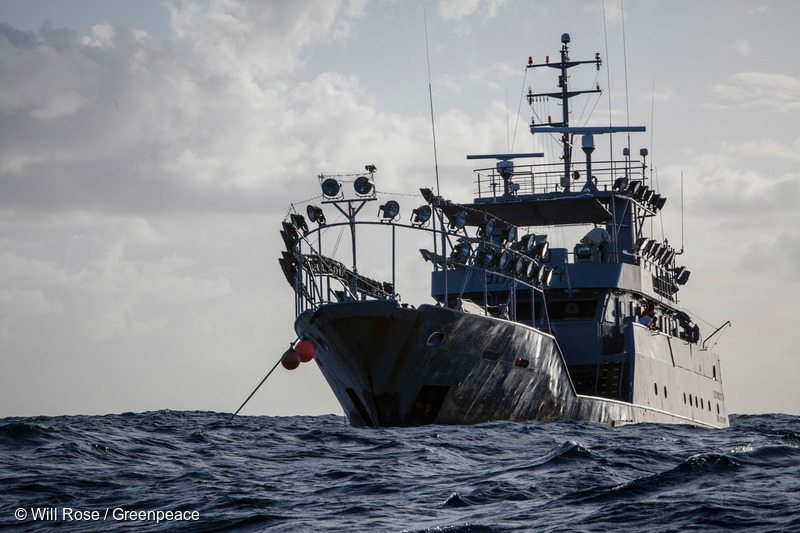 The supply vessel Explorer II in the Indian Ocean. Activists on board the Greenpeace ship Esperanza peacefully confront marine operations at the heart of Thai Union's supply chain, the latest in a series of global protests against the tuna giant's destructive fishing practices. At 06.00 local time, activists in inflatable boats deliver a cease and desist letter to the deck of the Explorer II, a supply vessel using an underwater seamount to perch on and contribute to massive depletion of ocean life.