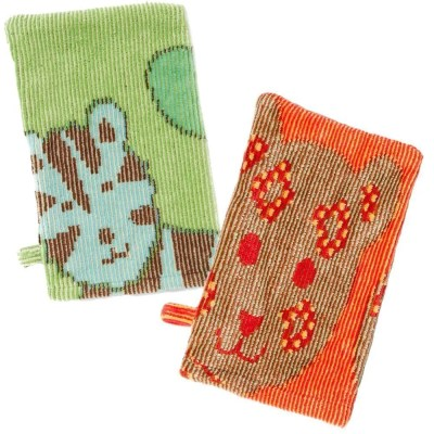 Organic bath mitts jungle green and orange