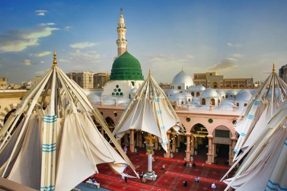 Madina 3d Live Wallpaper A Forest Of Umbrellas Keeps Medina Pilgrims Cool Green
