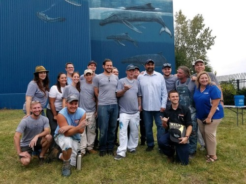 Wyland and Crew at the Whaling Wall Touchup