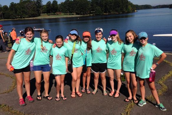 Greensboro Crew's novice girls crew are all smiles at the 2016 High Point Autumn Rowing Festival.