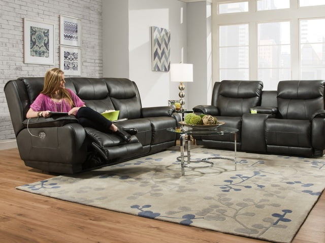 southern motion velocity reclining sofa black microfiber and loveseat sofas, loveseats & sectionals – green's furniture