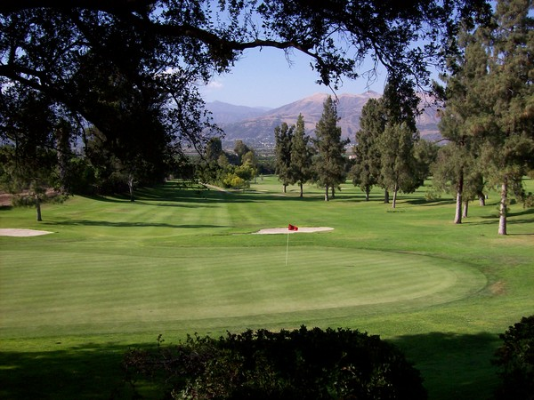 Elkins Ranch Golf Course Fillmore California. Hole 14; looking back from the green