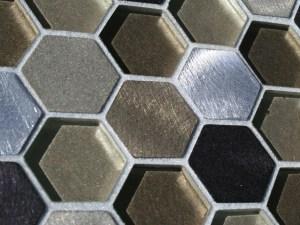 hexagonal Aluminum recycled mosaic tiles