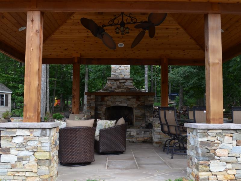 Western Red Cedar Pavilion Fireplace Outdoor Kitchen and Pergola  Greensward LLC