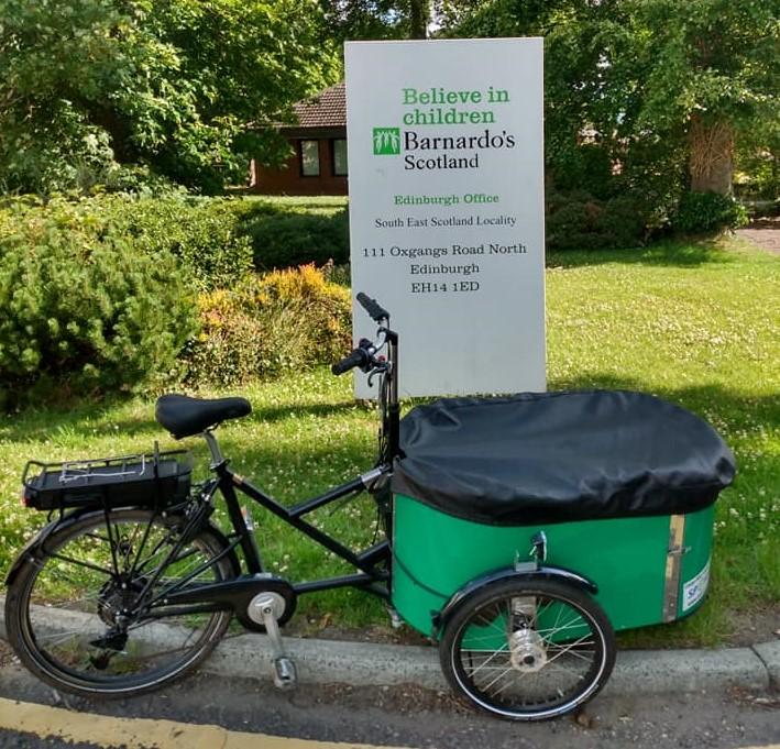 ecargo bike at Barnardos Hub