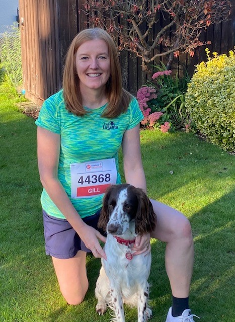 Gill in running number with bramble the dog