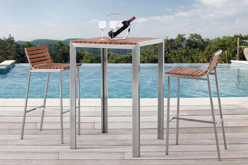 outdoor bar table and chairs revolving chair steel base products greentek furniture teak stainless set