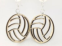 Volleyball Wood Earrings made from Eco Friendly Wood