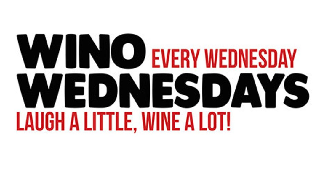 A promotional graphic for Wino Wednesday