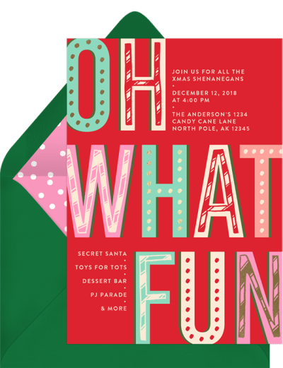 """Holiday card messages: a card that reads, """"Oh what fun"""""""