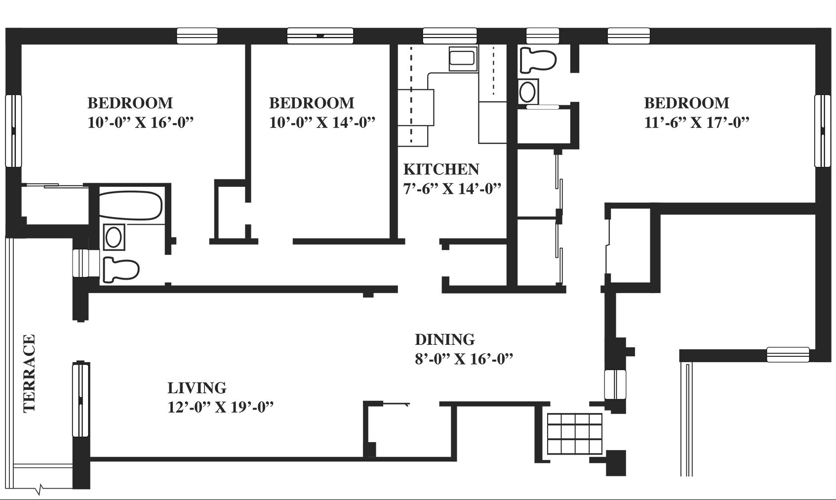 Floor Plans  3 Bedrooms  Greenwich Close Apartments