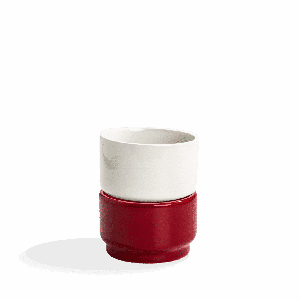 Ujo modular ceramic planter by Andre Gouveia (red 1)