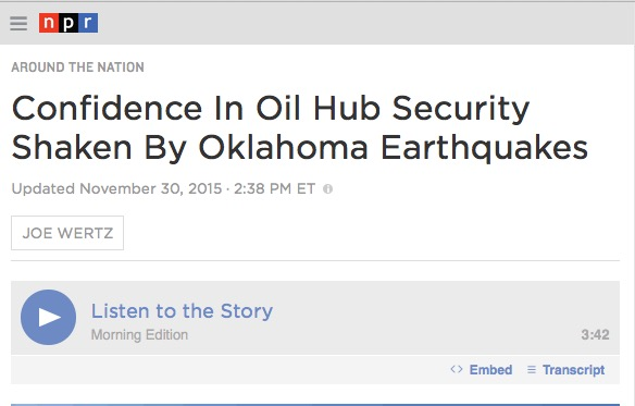 NPR: Confidence In Oil Hub Security Shaken By Oklahoma Earthquakes