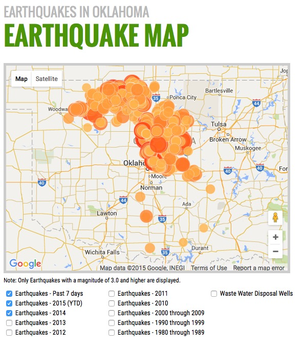 EARTHQUAKES IN OKLAHOMA Earthquake Map