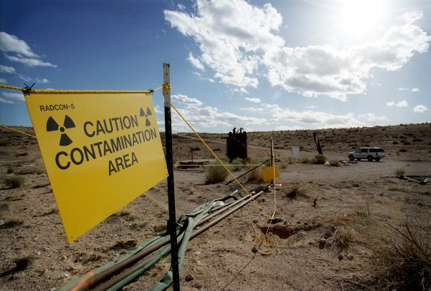 16 Apr 2002, Yucca Mountain, Nevada, United States --- The view from inside a subsided crater left by a long ago underground nuclear bomb test at the Nevada Nuclear Test Site, near Yucca Mountain. --- Image by © Dan Lamont/Corbis