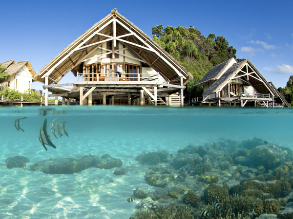 This is the Misool Eco Resort, located in Indonesia's Raja Ampat archipelago. Raja Ampat has successfully brought in revenues from ecotourism.