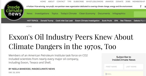Exxon's Oil Industry Peers Knew About Climate Dangers in the 1970s, Too.   Members of an American Petroleum Institute task force on CO2 included scientists from nearly every major oil company, including Exxon, Texaco and Shell.