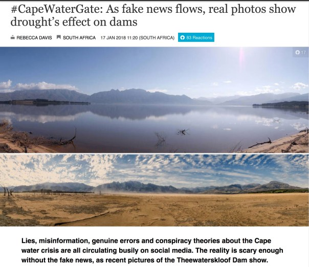 #CapeWaterGate: As fake news flows, real photos show drought's effect on dams      Rebecca Davis South Africa 17 Jan 2018 11:20 (South Africa)