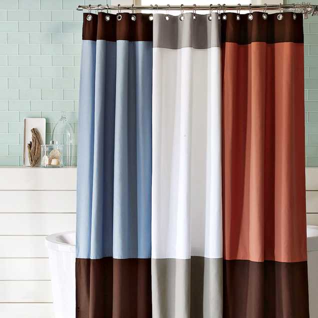 Shower in Contemporary Style Organic Color Block Shower Curtain from West Elm
