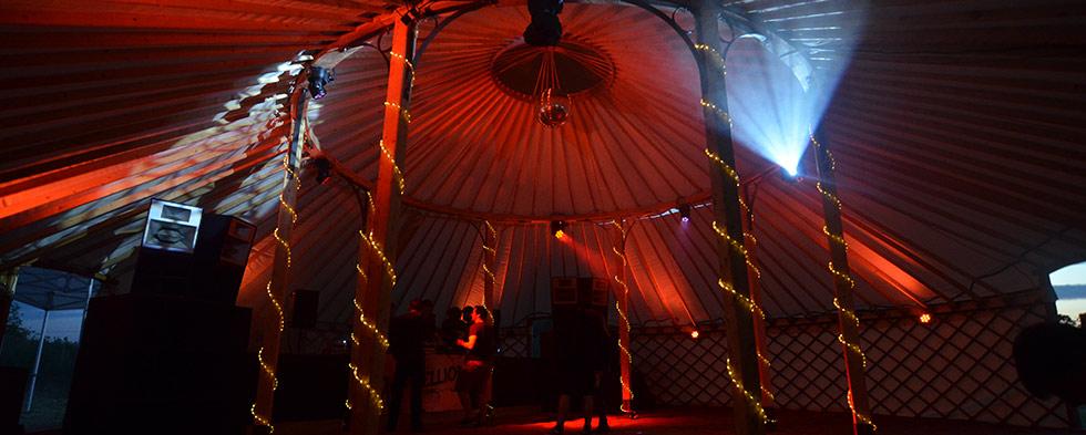 Festival wedding - dance floor set up