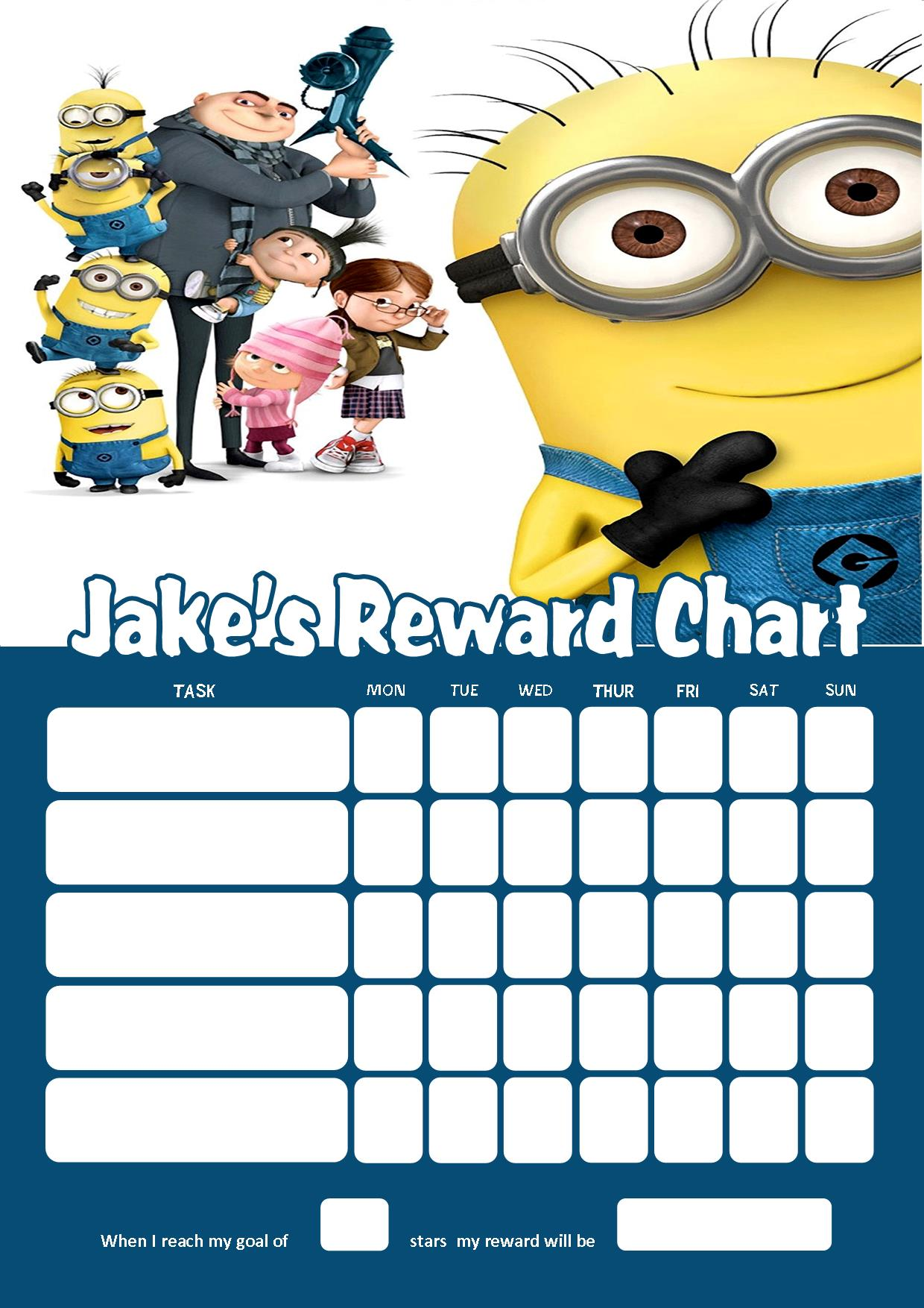 Personalised Despicable Me Minions Reward Chart Adding